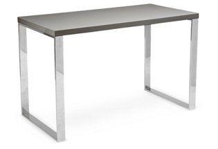 Delancy Desk, Gray/Silver   Euro Style   One Kings Lane