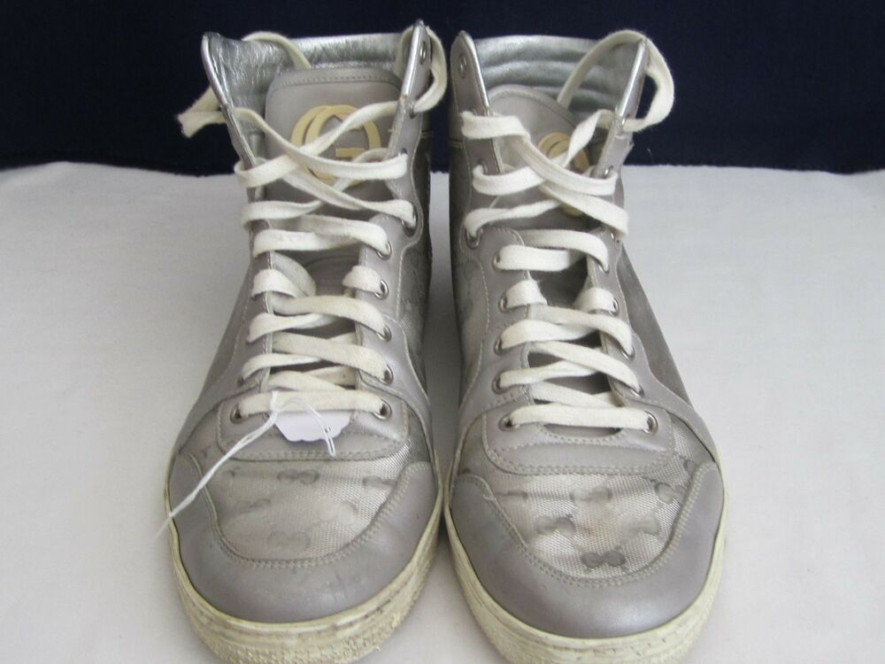 88e9504b9cc Gucci 9.5 Silver Gray Guccissima Leather Monogram High Top Sneakers   fashion  clothing  shoes