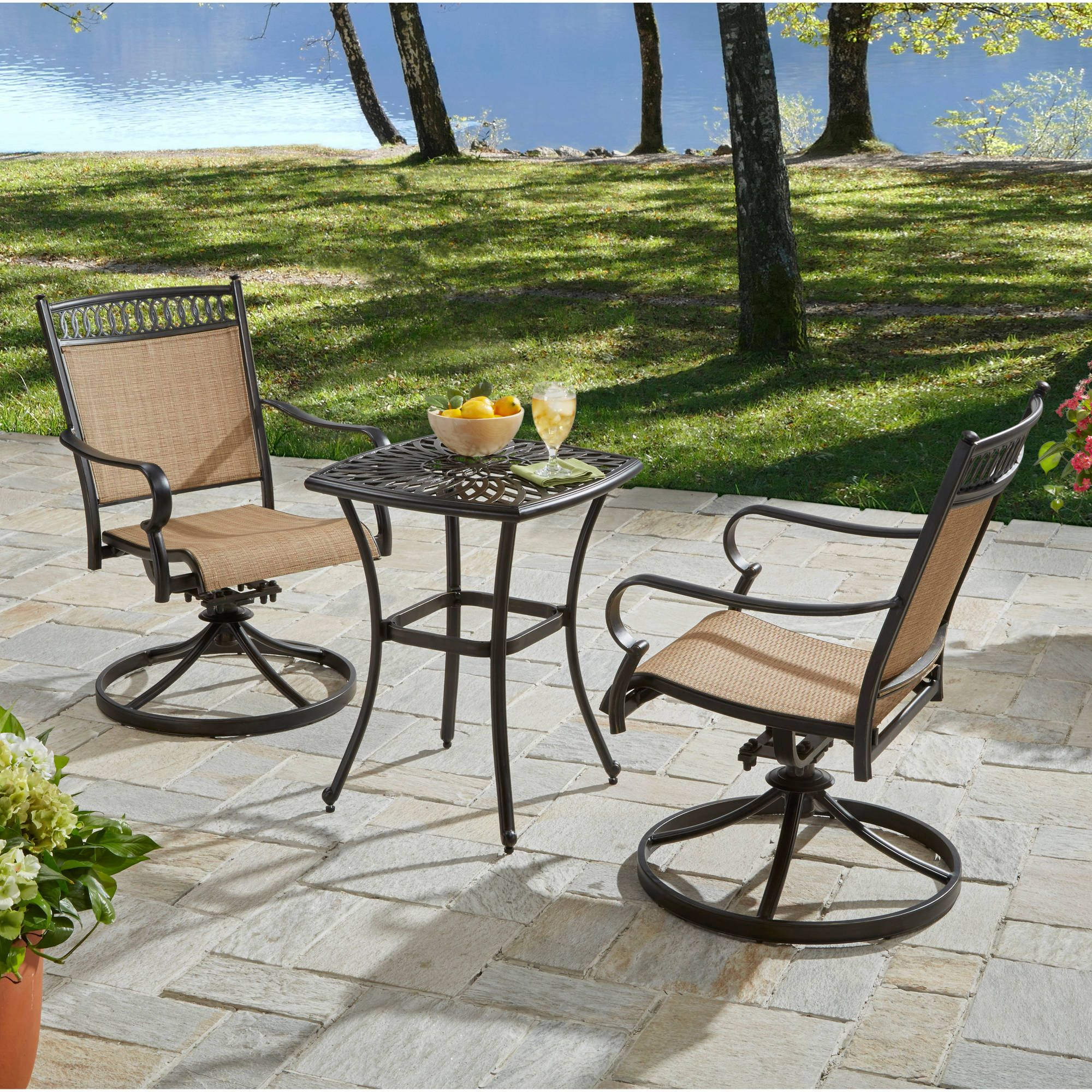 Better Homes And Gardens Warrens 3 Piece Aluminum Bistro Set Topoffersmall Com Outdoor Bistro Set Clearance Outdoor Furniture Patio