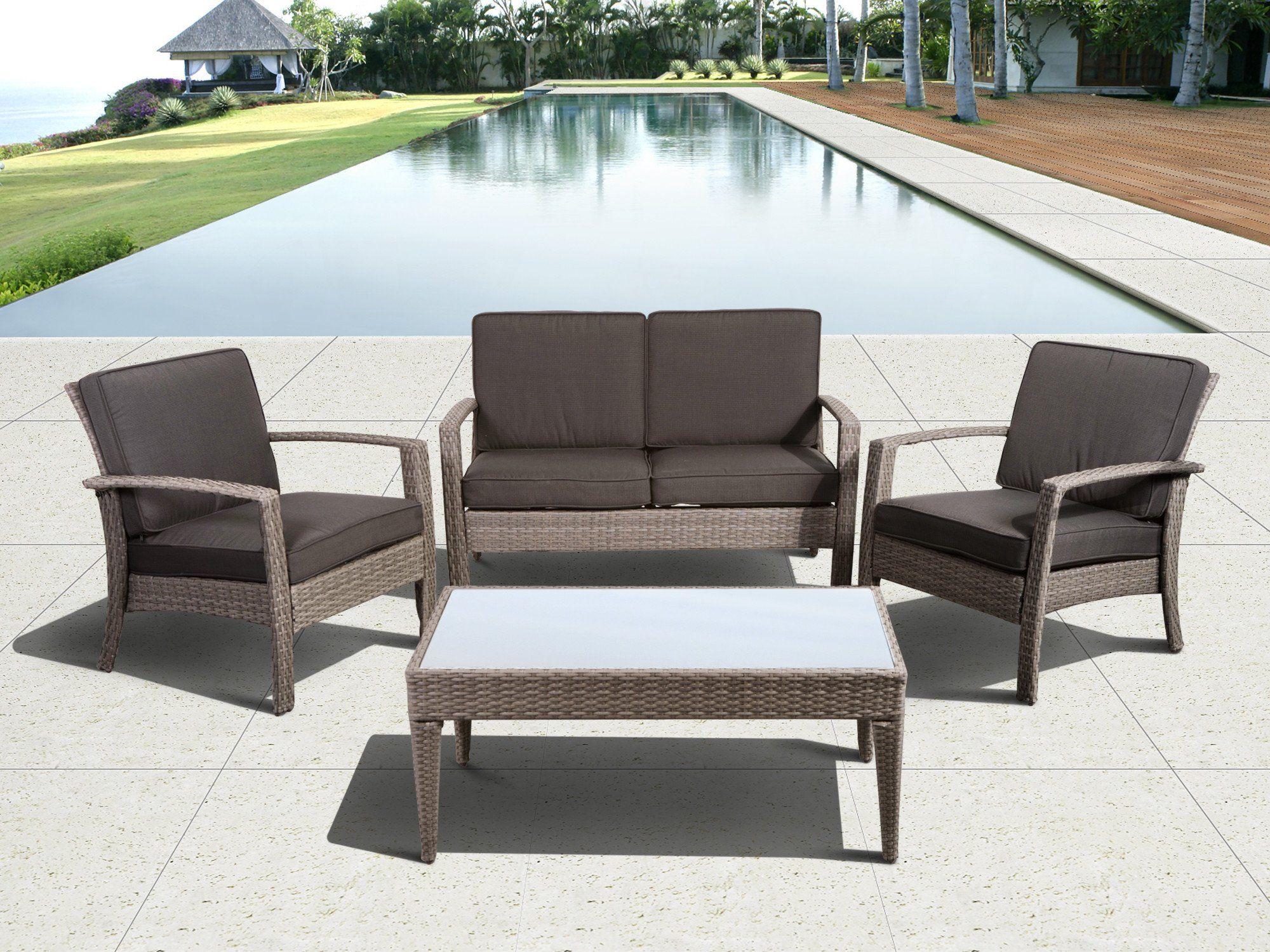 Best Florida Deluxe Grey 4 Piece Wicker Patio Conversation Set 640 x 480