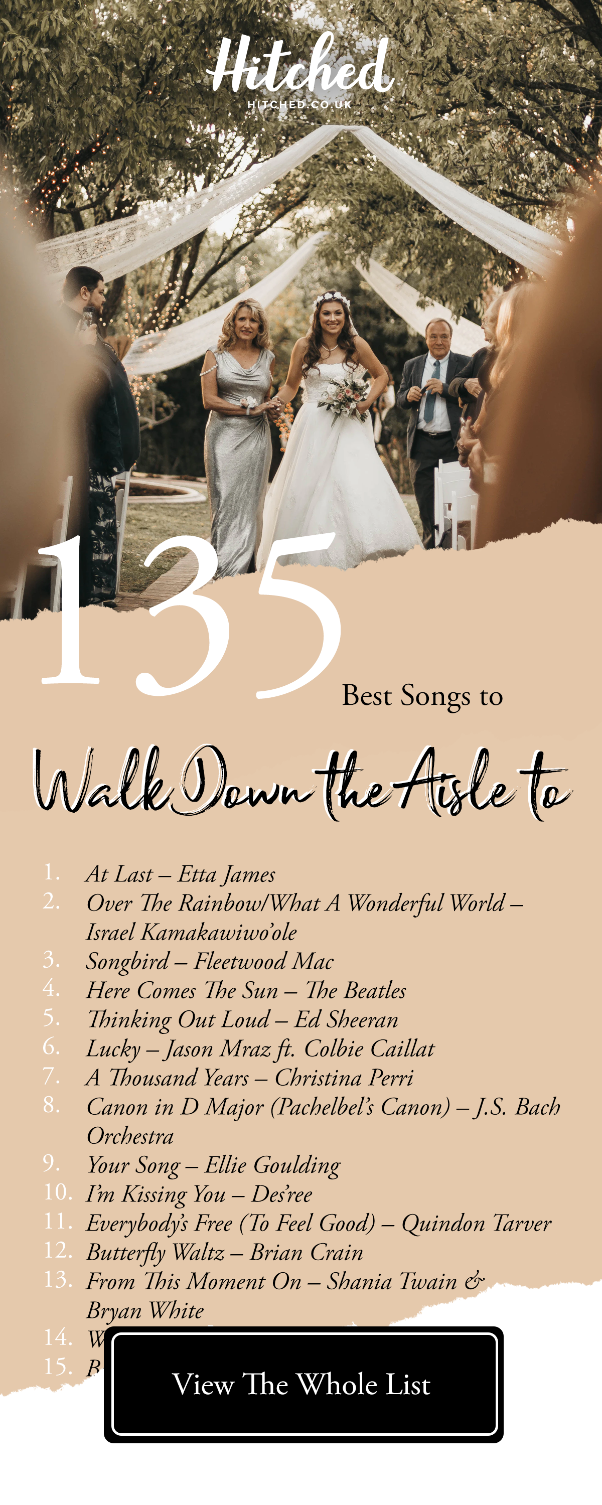 135 Of The Best Bride Entrance Songs For Every Kind Of Bride Bride Entrance Songs Country Wedding Songs Perfect Wedding Songs