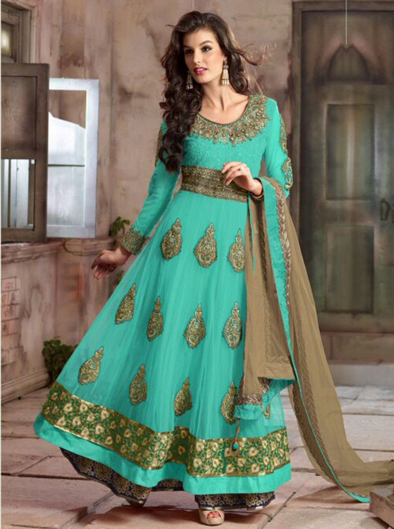 2a48d04a9 Net Zari Work Blue Semi Stitched Long Anarkali Suit - 4105E at Rs 3999