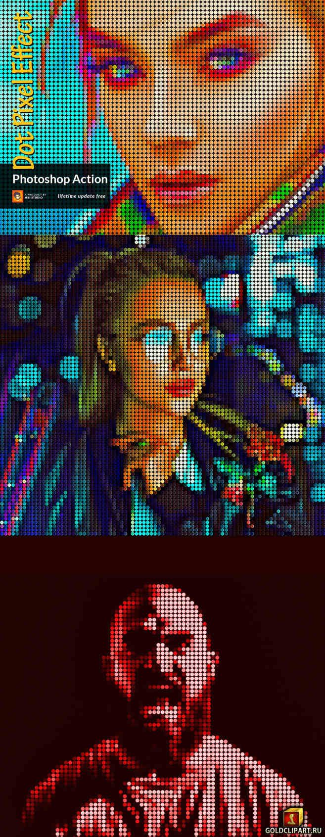 Punktpixel-Effekt Photoshop-Aktion 3732588 • Goldclipart.ru