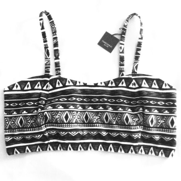 Tribal Bandeau top Black and white top with a caged back ; new condition Forever 21 Tops