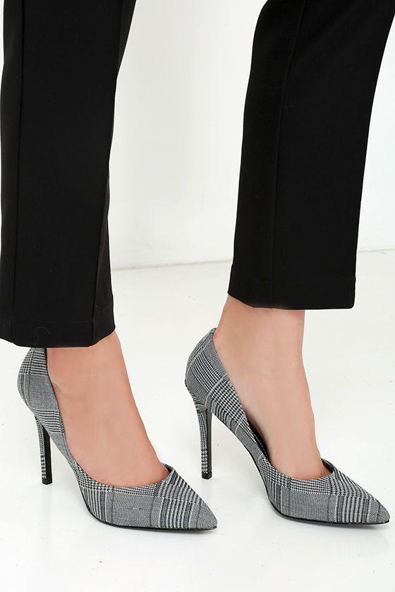 White Plaid Pumps | Tartan shoes, Heels