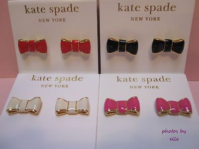 Kate Spade Take A Bow Red Hot Pink Black Or Cream Stud Earrings Nwt