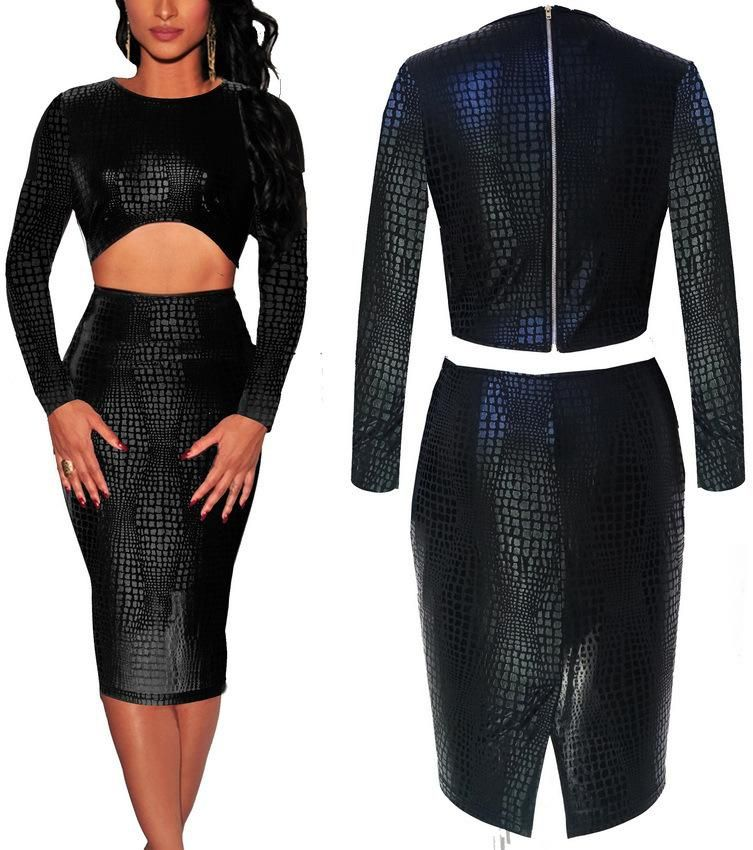 Black Long Sleeve Faux Leather Bodycon from Trinity | dresses and