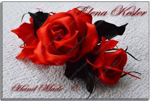 Украшение Цумами Канзаши Розы Ленты фото 2