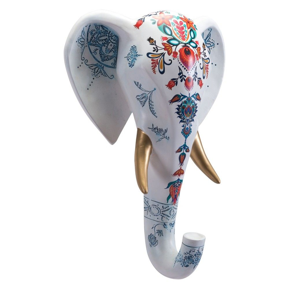 Zm home 18 elephant head sculpture white