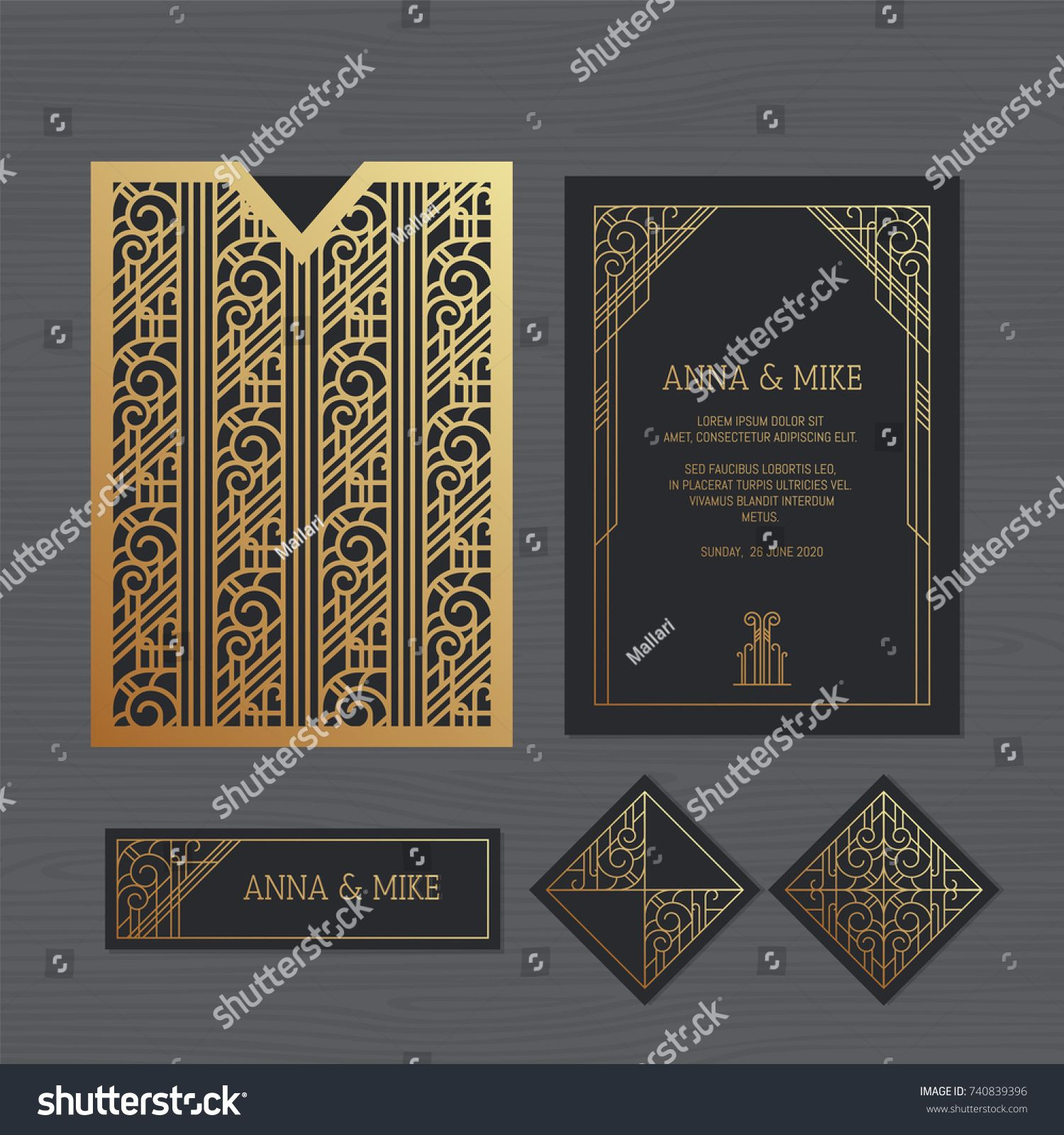Luxury Wedding Invitation Or Greeting Card With Geometric Ornament Art Deco Style Paper Lace Envelope Template Envelope Template Art Deco Fashion Paper Lace