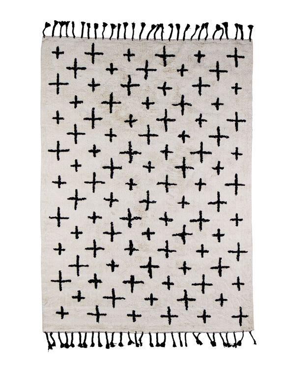 Skandinavisches Design! Langflor Teppich aus 100% Baumwolle in off ...