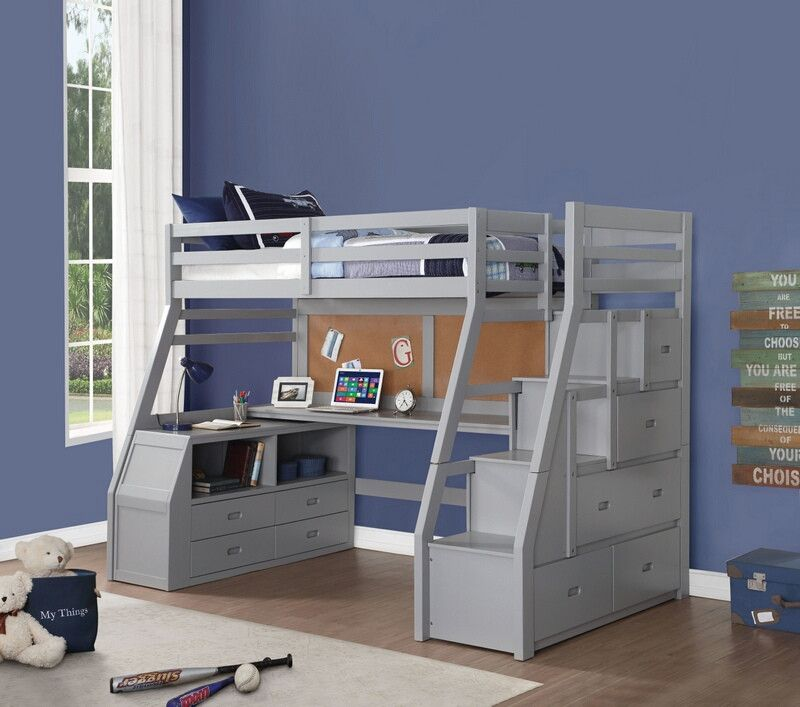 Acme 37445 Zoomie Kids Jeremiah Jason Ii Gray Finish Wood Twin Size Loft Bed Desk Drawers Steps Twin Loft Bed Twin Size Loft Bed Loft Bed Storage