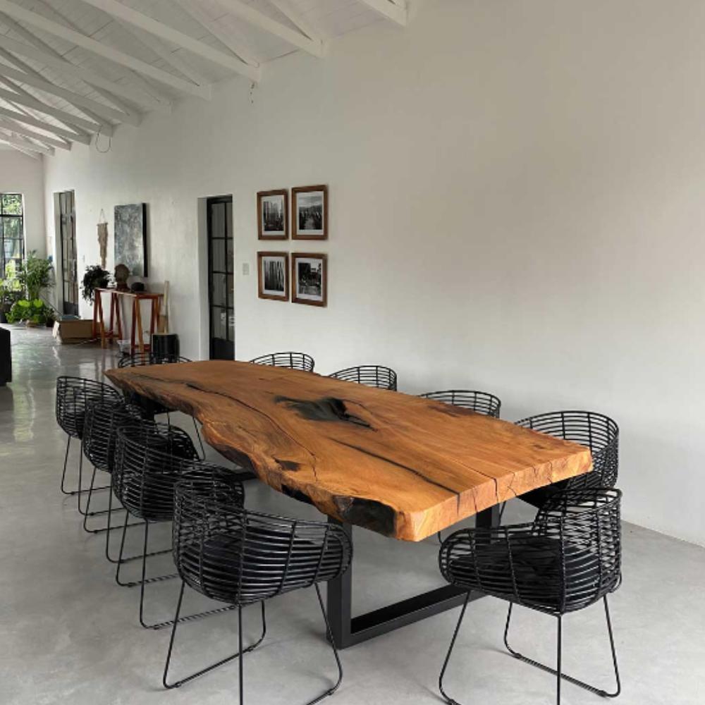 MATUMI SLAB DINING TABLE - 6 Seater / Shou Sugi Ban Black Wood Finish