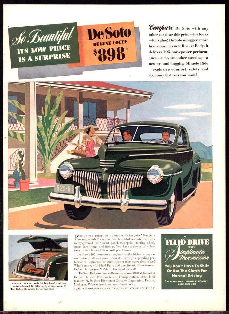 1941 Desoto Forties 1940s 40s Antique Car Ad W Original Price