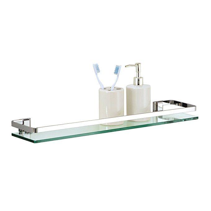 Organize It All Wall Mounting Bathroom Glass Shelf with Chrome