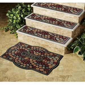 Lovely Decorative Outdoor Stair Treads | Home Indoor Living Decorative Rugs  Pompeii Stair Pompeii Stair Tread .