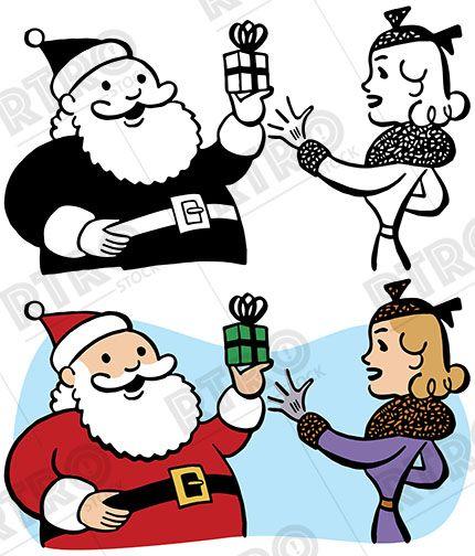 santa claus gives a woman a christmas present vintage retro clipart rh pinterest co uk vintage retro clipart woman vintage woman clipart