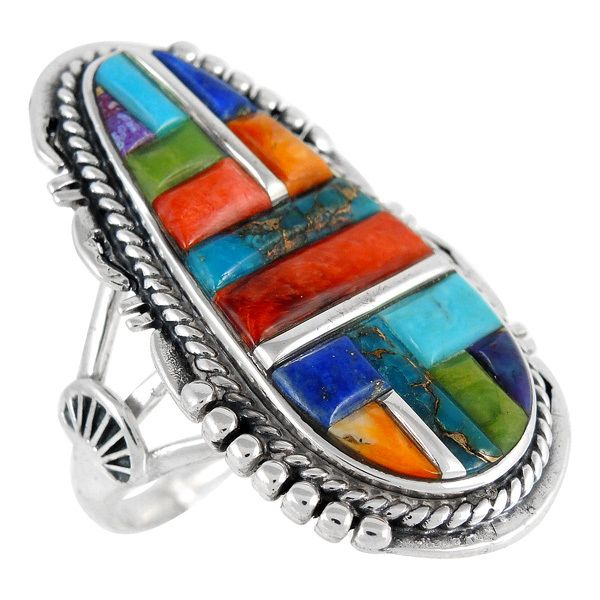 SELECT color Sterling Silver Genuine Gemstones /& Turquoise Ring