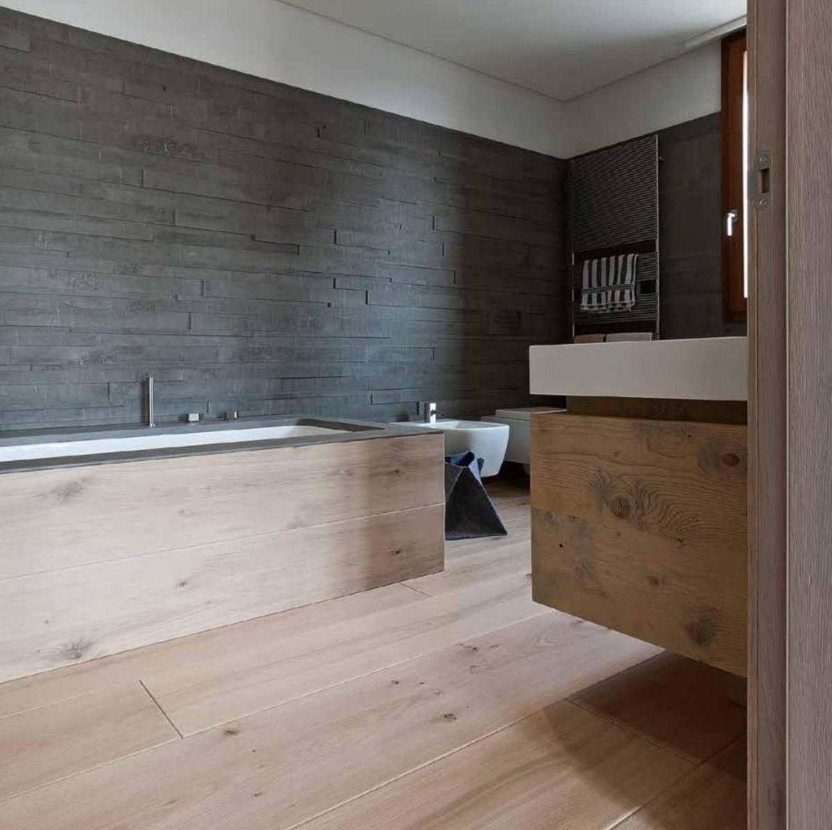 Matching bespoke bath panel and basin vanity unit with ...