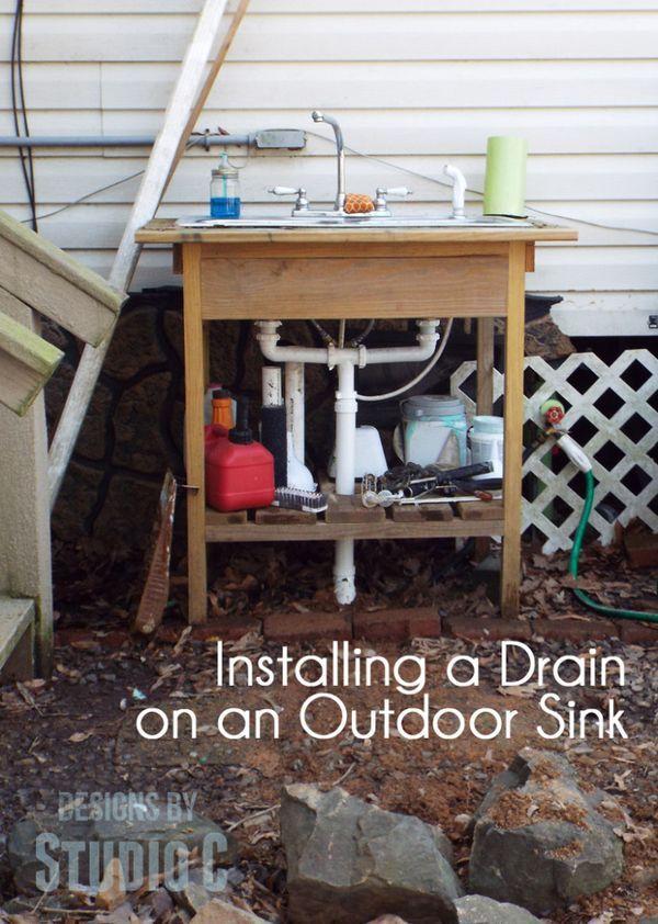Build An Outdoor Sink Part Three Installing The Drain Outdoor Kitchen Sink Outdoor Sinks Sink