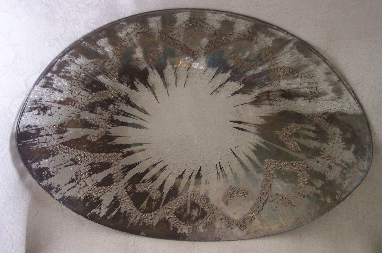 Dorothy Thorpe Sterling Silver on Crystal Oval Serving Tray