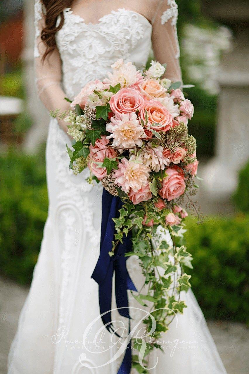 Romantic Cascading Wedding Bouquet Showcasing Peach