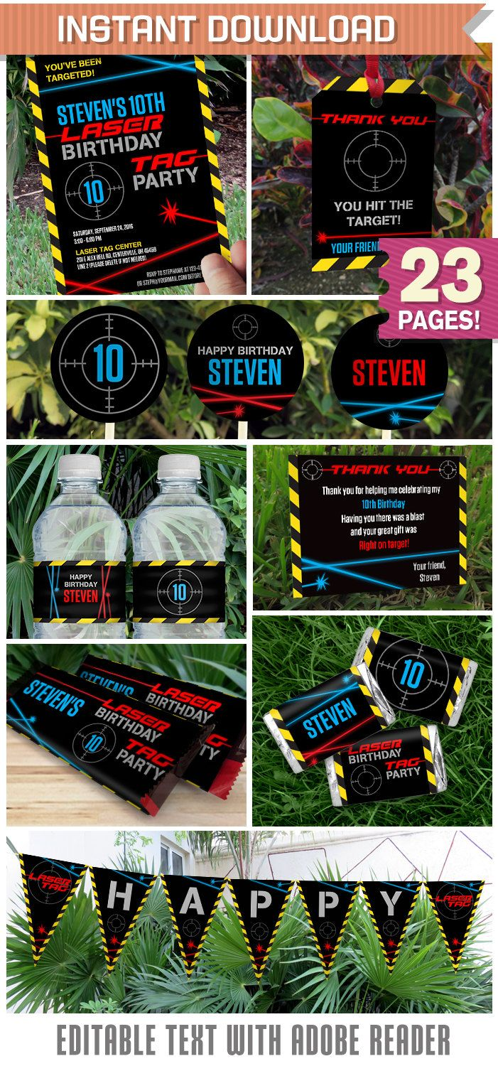 Laser Tag Party Invitations & Decorations - INSTANT DOWNLOAD - Edit ...