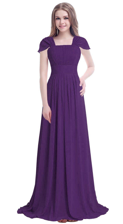 D.M.D Women\'s Chiffon Butterfly Sleeves Long Bridesmaid Prom Dress ...