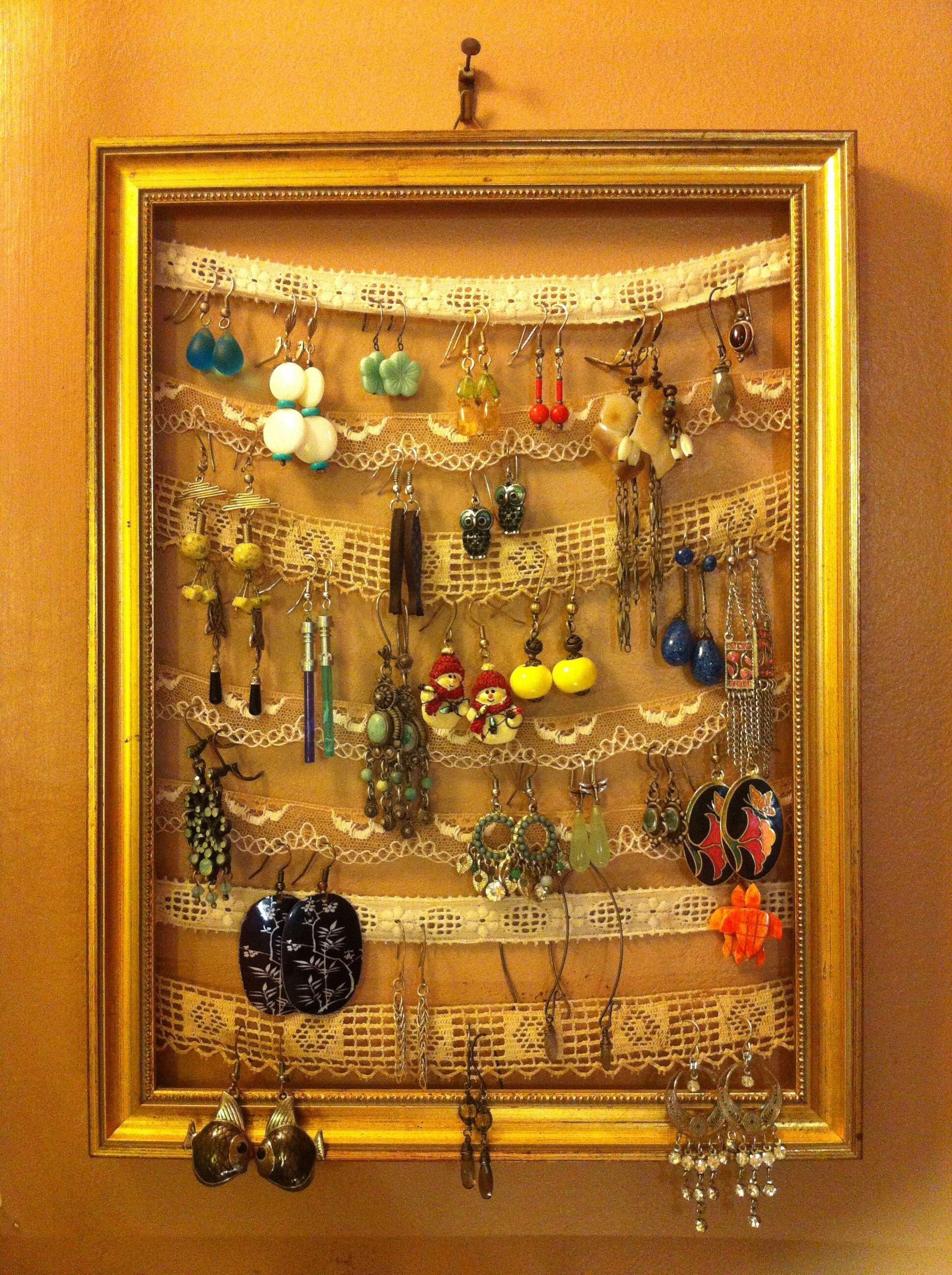 regarder divers styles Conception innovante Cadre de tableau et rubans de dentelle = porte boucle-d ...