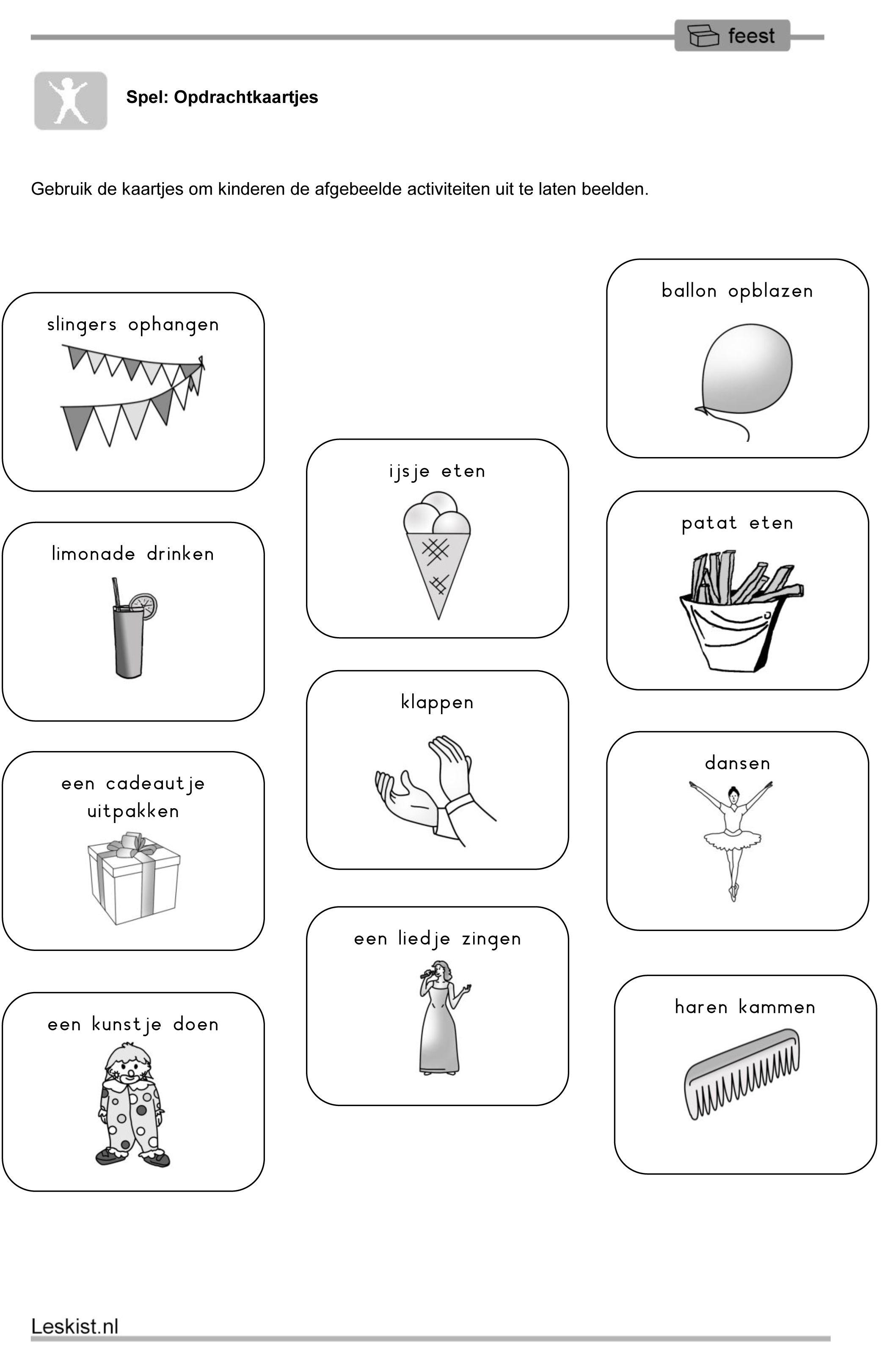 Werkblad Uitbeelden | Thema feest | Pinterest