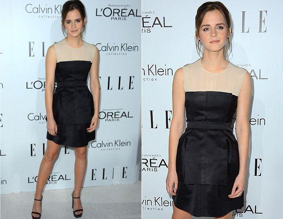 Emma Watson apostou no minimalismo com seu vestido peplum preto da Calvin Klein. A transparência no colo é um charme!