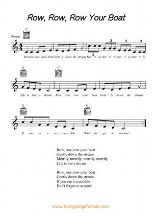 Row Row Row Your Boat - Free sheet music from Funny Songs for Kids ...