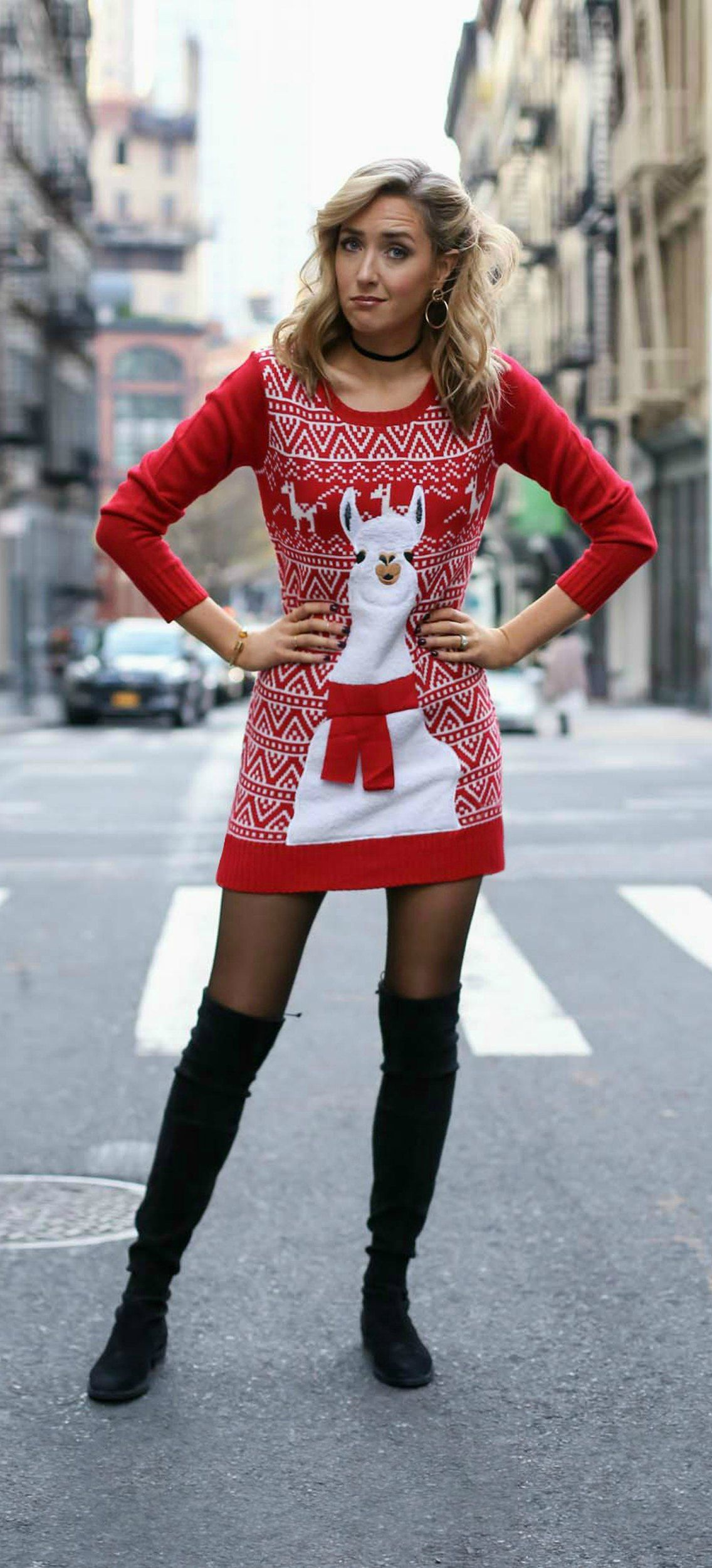 The perfect ugly christmas sweater dress red and white for Over the top ugly christmas sweaters