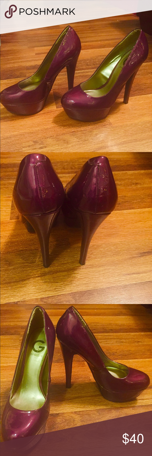 Guess Platform Heels These heels by Guess are shiny and perfect for a night on the town! In excellent condition. Guess Shoes Heels