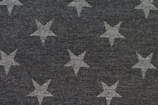 Silver Star Wool Fabric Grey Upholstery With White Stars 100 Suitable
