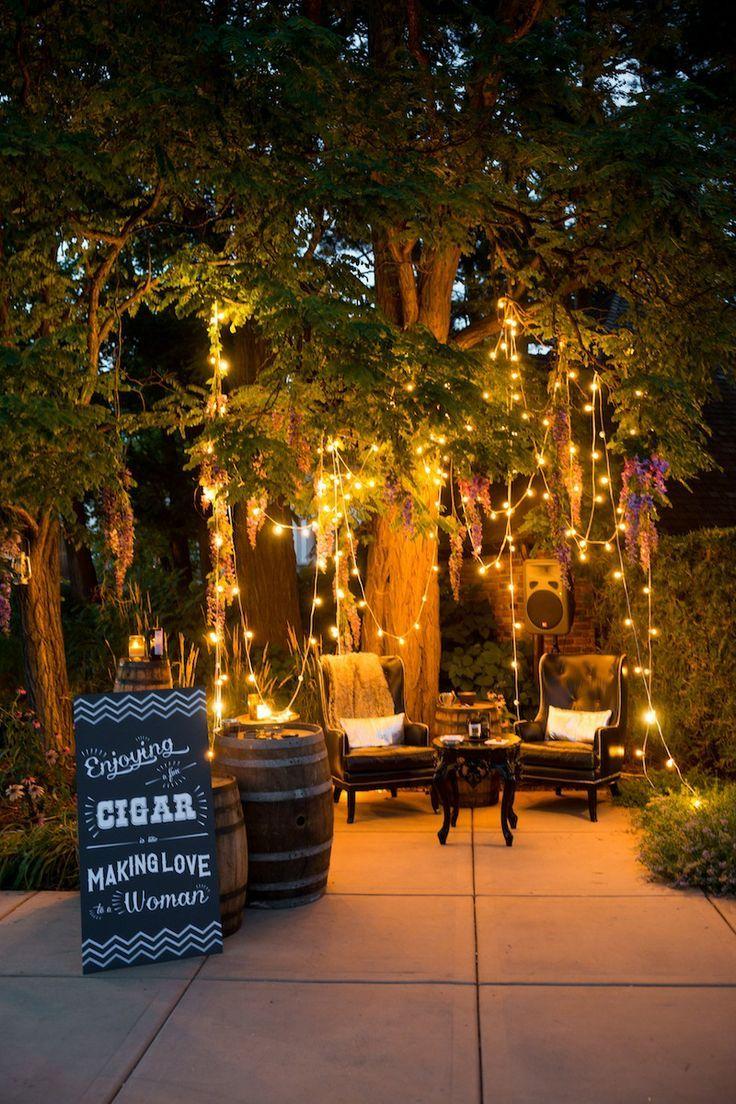 Liebelein Will Hochzeitsblog Zigarren Bar Cigar Bar Hochzeit Herrenzimmer Sessel Dekoration Deco Partybeleuchtung Hinterhofbeleuchtung Hochzeit Garten