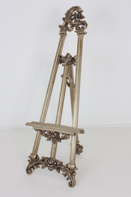 This ornate silver decorative easel is a great way to display your favoutite artwork at home and has also been popular with art galleries