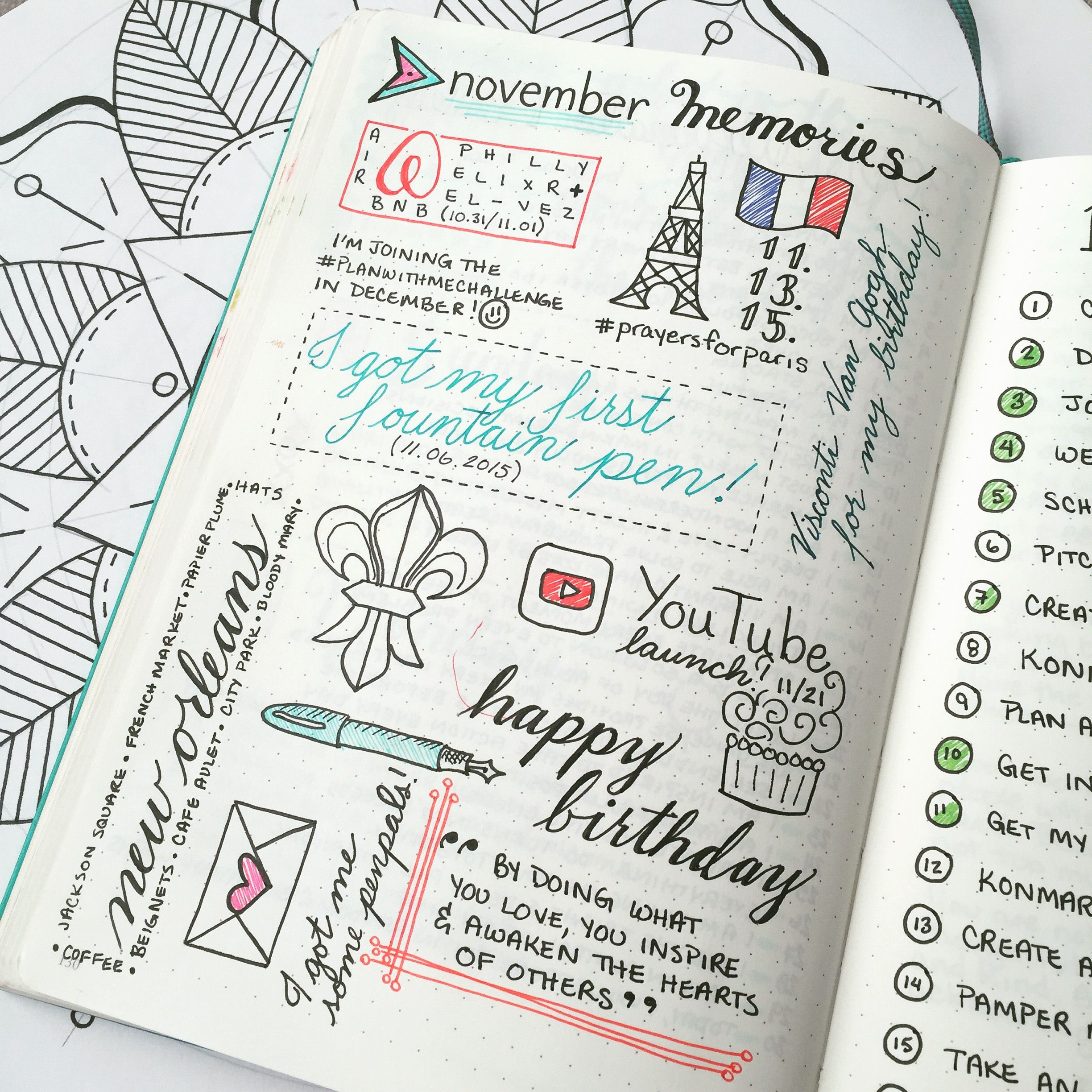 Monthly Memories Page In Bullet Journal