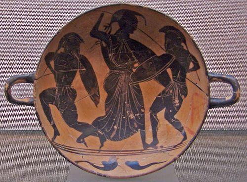 Athena Fighting With Two Warriors Kylix Greek Ceramic Ceràmica àtica S Vi A C Museu D Arqueologia De Catalunya Barcelona Oudheid Juwelen Romeinen