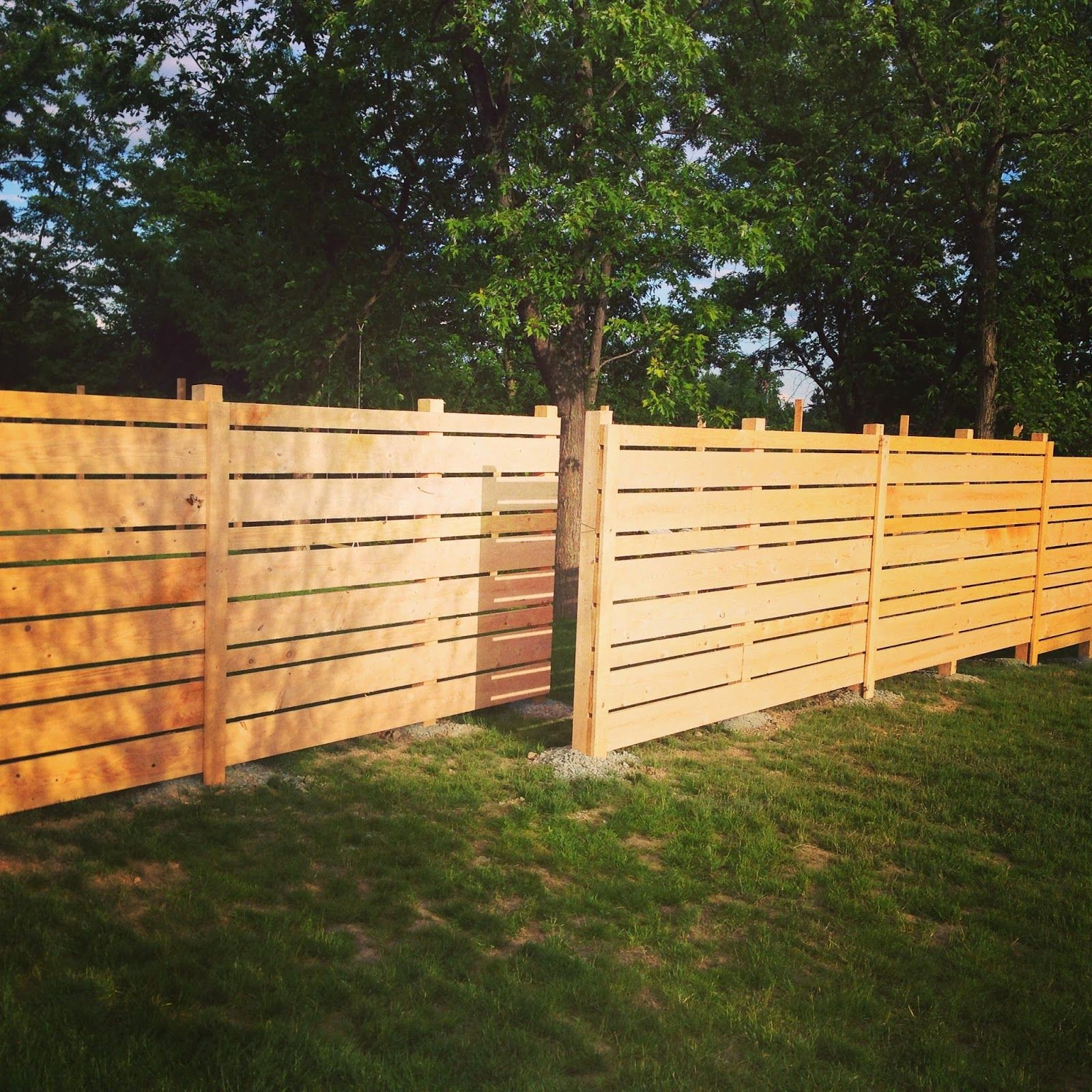 DIY Fence made from rough cut Hemlock, horizontal design, staggered ...