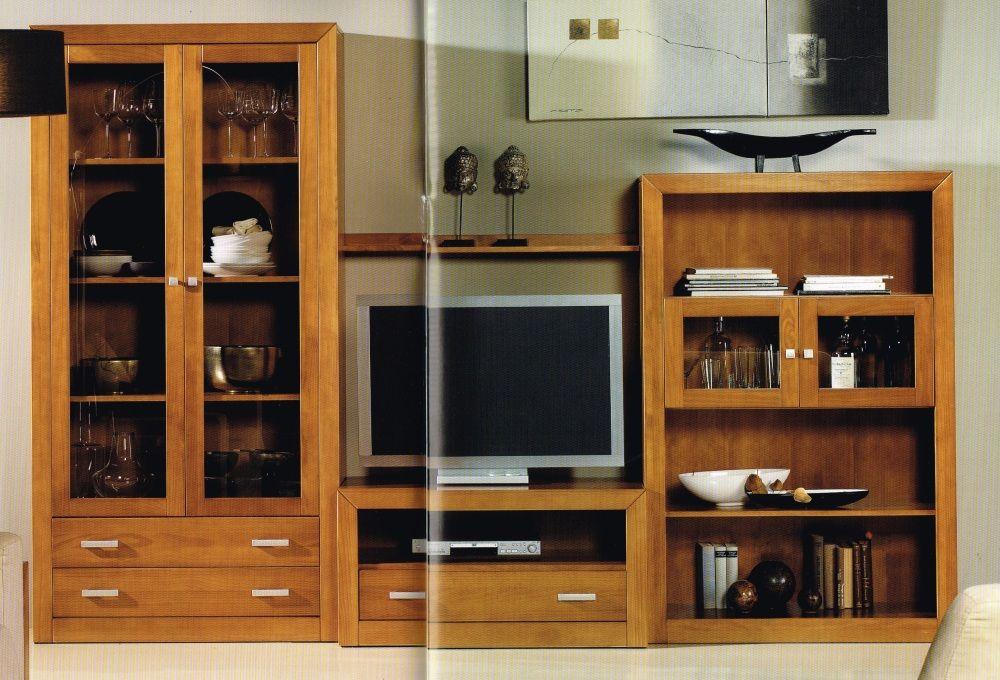 Mueble Salon Con Libreria En Madera Maciza N2 Muebles