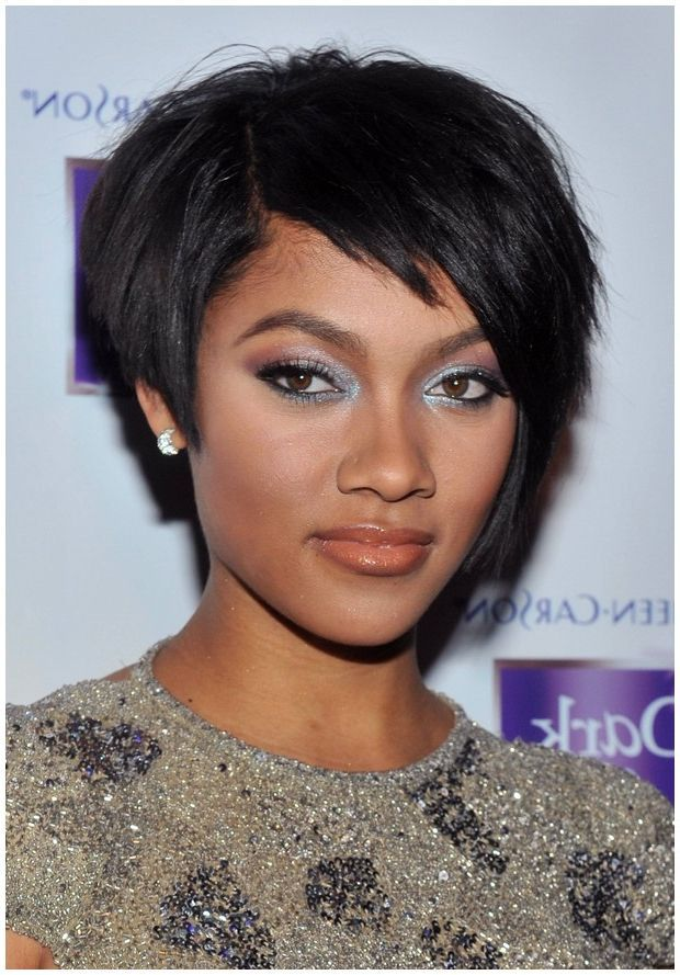 short hairstyles for black women for round faces