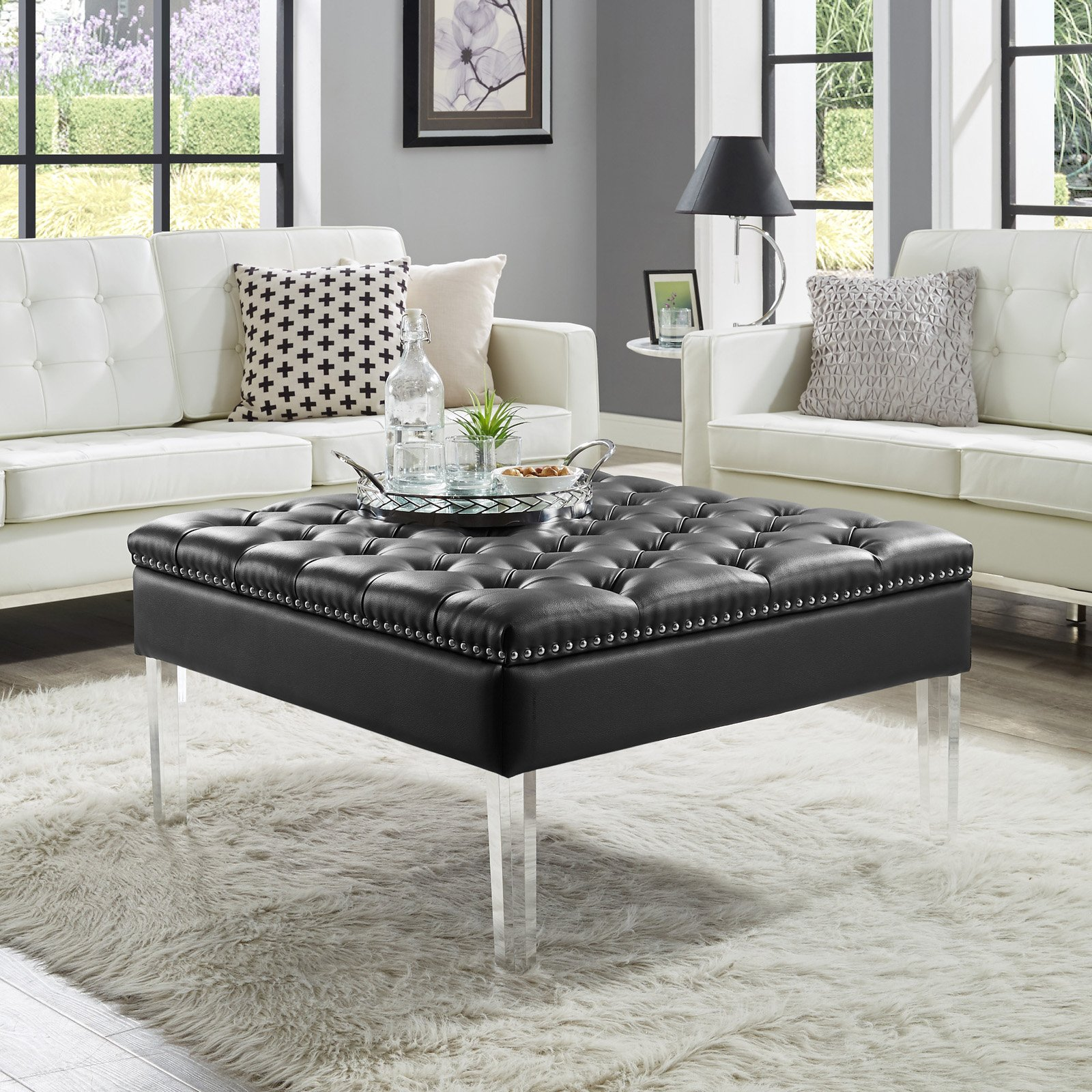 Magnificent Inspired Home Kayla Square Faux Leather Coffee Table Ottoman Camellatalisay Diy Chair Ideas Camellatalisaycom