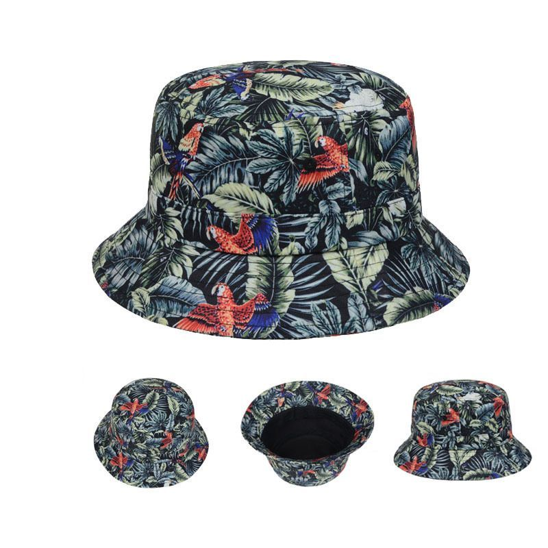 f5b9618c7e4 New Green Birds Leaves Print Tropical Hawaii Bucket Hats Fishing Outdoor Sun  Cap  Goldtop  Bucket