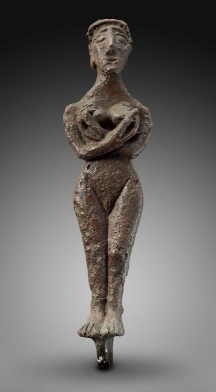 female figurine holding breasts  Near Eastern, Levantine, Syrian, Early Bronze Age, 3200–2800 B.C.  Museum of fine Arts, Boston