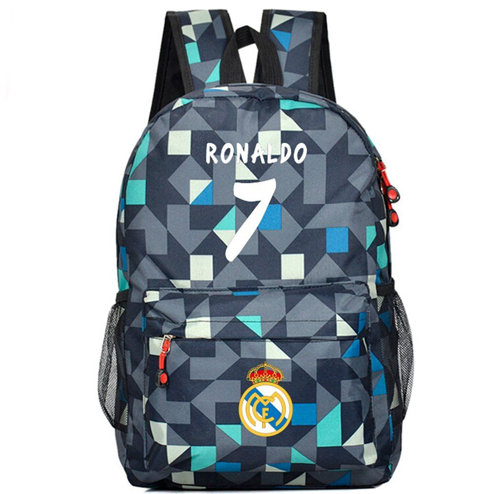 School bag for year 7 - Real Madrid Cristiano Ronaldo 7 Bag Casual Laptop Backpack Cosplay Schoolbag Camouflage Blue