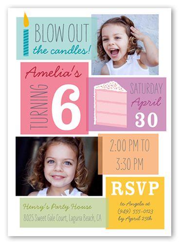 Birthday Blowout Girl 5x7 Invitation Card | Birthday Invitations | Shutterfly