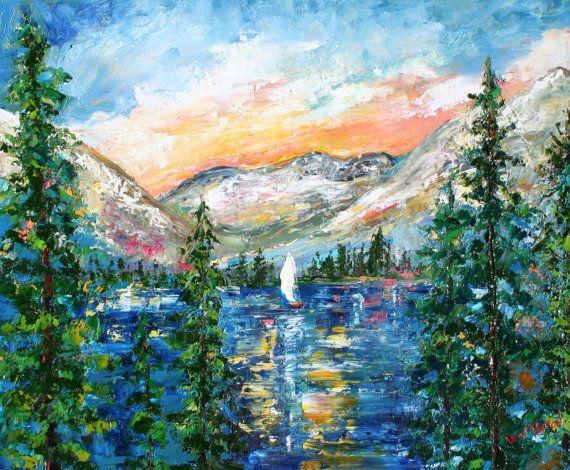 Original painting Lake Sailing Landscape MODERN by Karensfineart