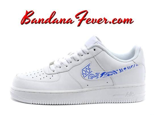 Custom Royal Blue Bandana Nike Air Force 1 Shoes White Low