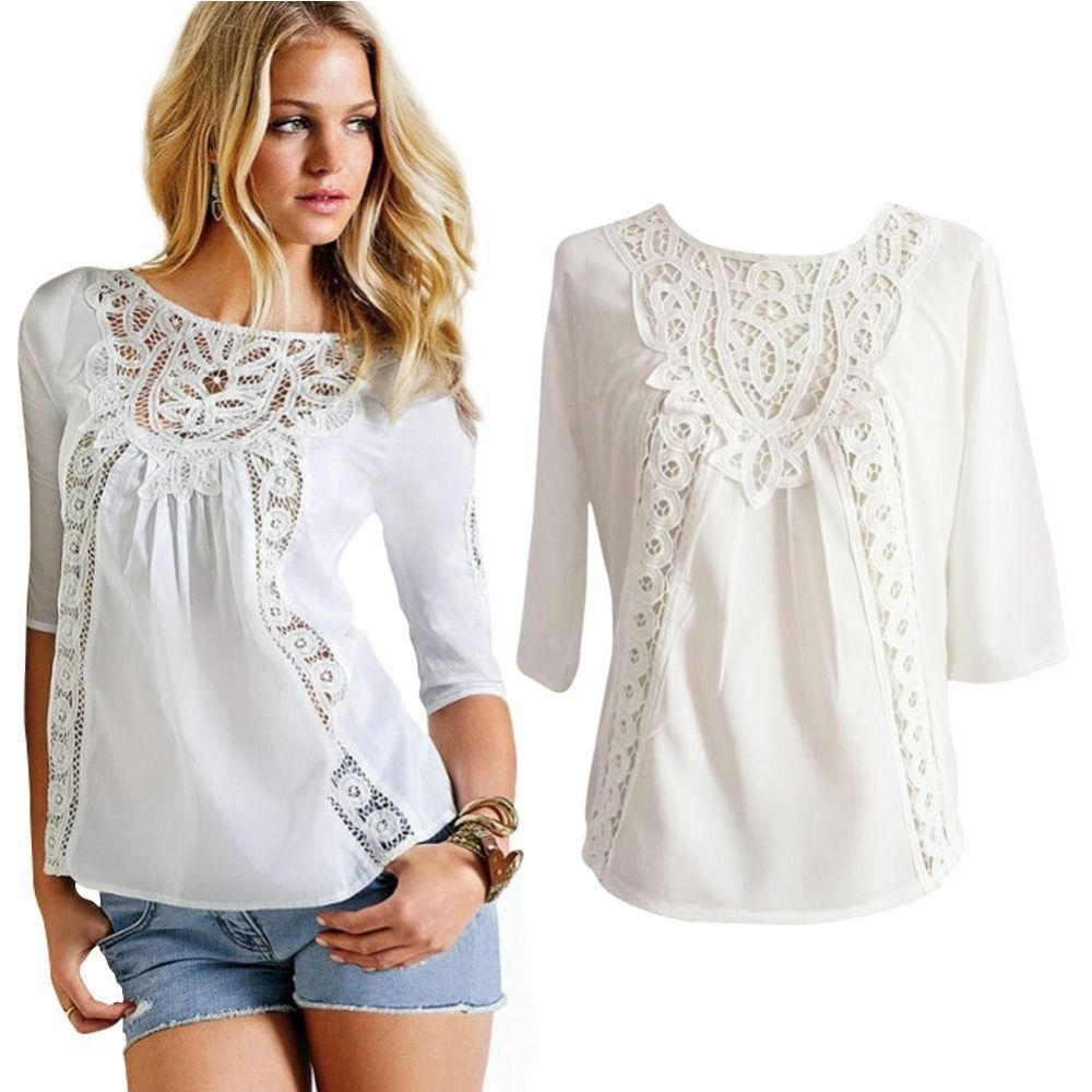 Click to Buy << New Women's Summer Loose Casual Lace Crochet ...